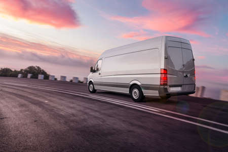 3d rendering of Van or truck of freight forwarder or shipping company on the road quickly delivers packages and deliveries overnight