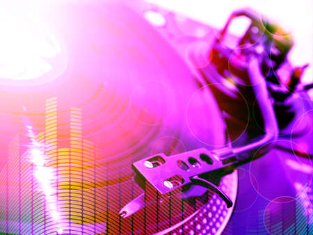 club background with turntable, violet light etc. Stock Photo