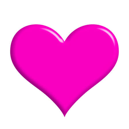 married: a pink heart (isolated, on whihte background)