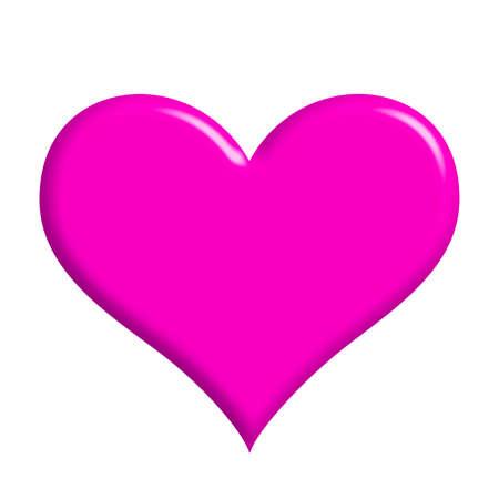 casados: un coraz�n de color rosa (aisladas, en el fondo whihte)