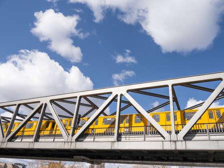 u bahn: train on a bridge in berlin