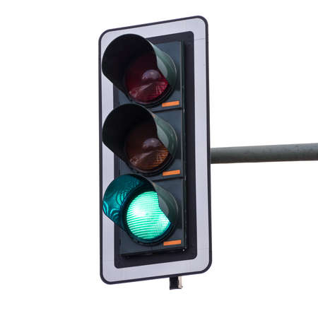 Traffic lights with green color (isolated on white background)