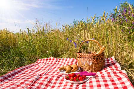 picknick deken met champagne, aardbeien en een croissant Stockfoto