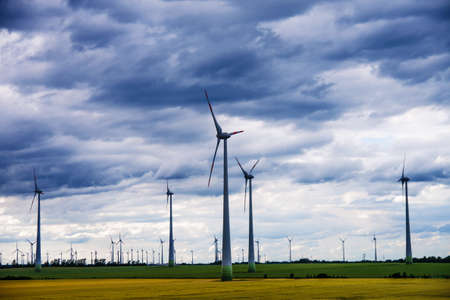 onshore: wind generators and green and yellow field with storm clouds on sky