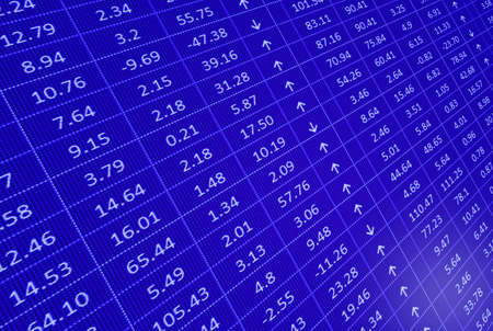 stock market display with figures in blue color photo