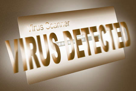 virus detected, virus scan, led screen (illustration) illustration