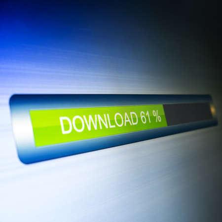 downloading content: download progress on led screen  illustration  Stock Photo