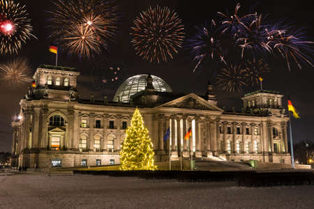 new year s eve: fireworks over parliament in berlin