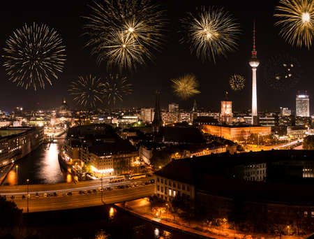 new year s eve: fireworks on new year in berlin