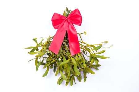 mistletoe isolated with red loop Stock Photo