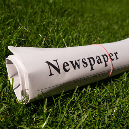 lates: newspaper on green grass in sunlight Stock Photo