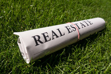 lates: real estate newspaper on green meadow Stock Photo