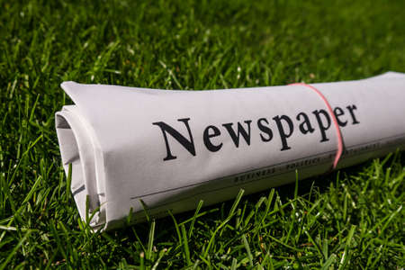 lates: newspaper on a green meadow Stock Photo