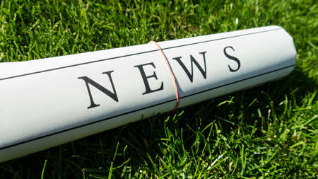 lates: newspaper on green meadow in summer Stock Photo
