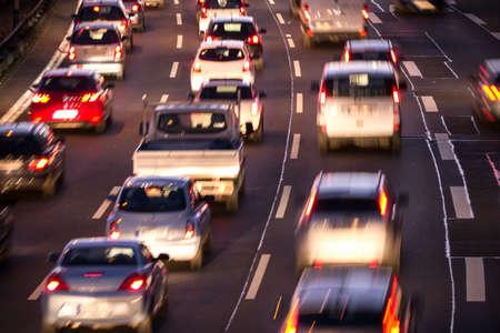 cars in traffic jam in evening Standard-Bild