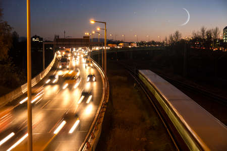 highway in evening, moon and stars photo
