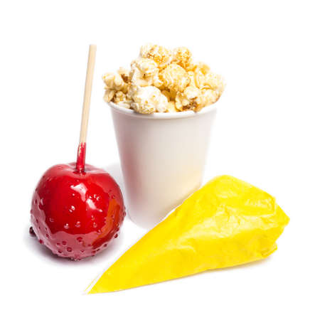 sugared: toffee apple, sugared almonds, popcorn (isolated)