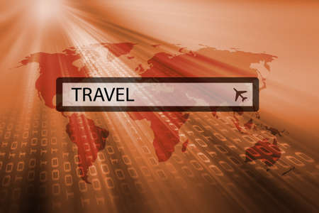 downloading content: travel written in search bar of search engine Stock Photo