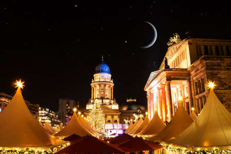 gendarmenmarkt christmas market and starry sky in berlin
