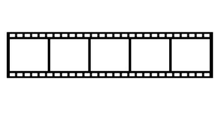 celluloid film: film strip on white background