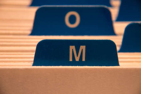 filing system: filing system with letter m