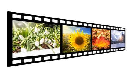 film strip with seasonal images (isolated) Stock Photo
