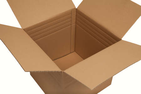 cardboard box open on white background photo