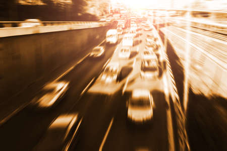 closing time: fast cars on highway (blurred) Stock Photo