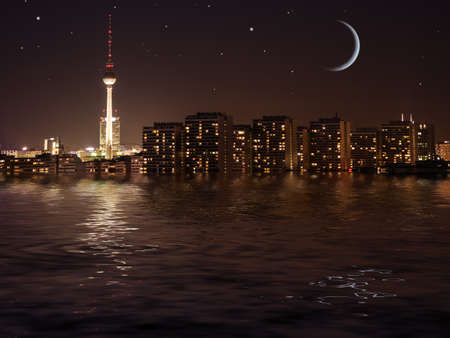 berlin city with starry sky and water photo