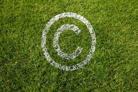 Copyright-Symbol in weiß auf Wiese