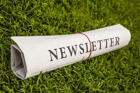jornal informativo em um prado verde