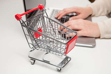 shopping cart and laptop (online shopping) photo