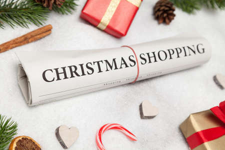 christmas shopping: christmas shopping and winter decoration Stock Photo