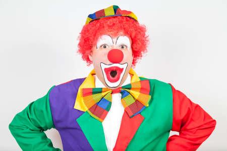 ballyhoo: wondering clown on white background