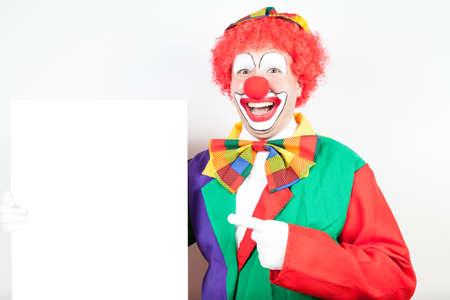 ballyhoo: clown with blank board on white