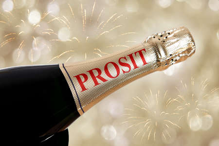 prosit written on bottle on new years eve