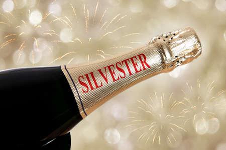 silvester: silvester written on bottle on new years eve
