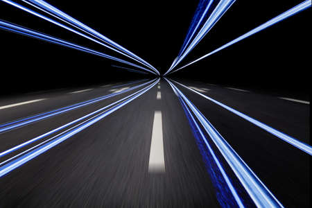 highway with lighteffect by night Stock Photo