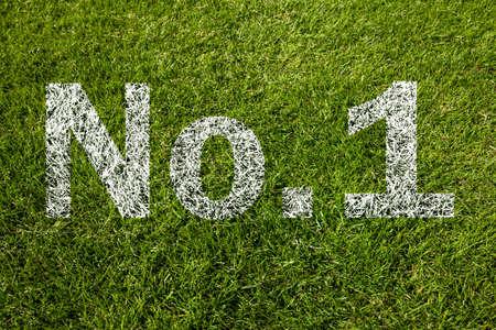 no1: no.1 written on green grass