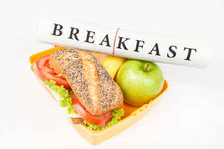 lunch box: breakfast newspaper and lunch box