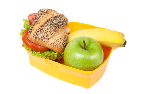 lunch box: lunch box with sandwich, apple banana isolated