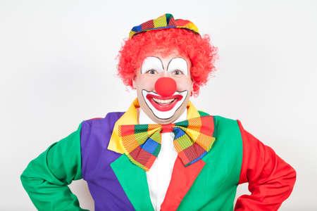 ballyhoo: smiling clown on white backtground Stock Photo