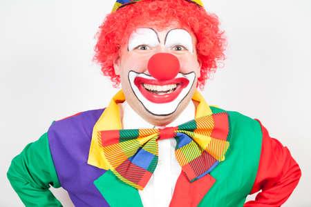 ballyhoo: smiling clown on white background