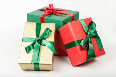 christmas gift: pile of christmas presents isolated Stock Photo