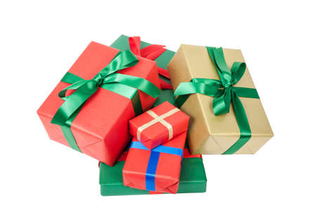 several christmas presents isolated
