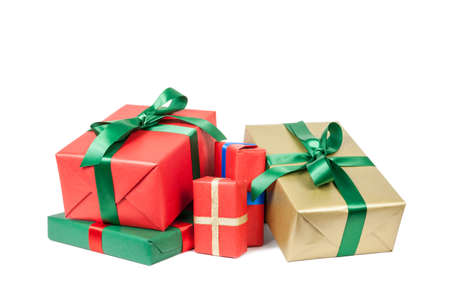 christmas presents on white background 写真素材