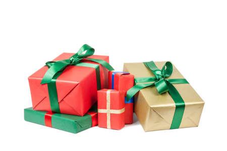 christmas presents on white background Stockfoto