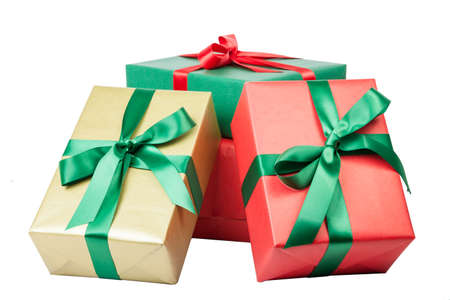 christmas presents in different colors isolated