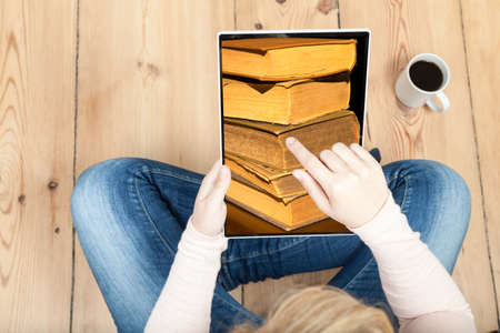 tablet with photo of books