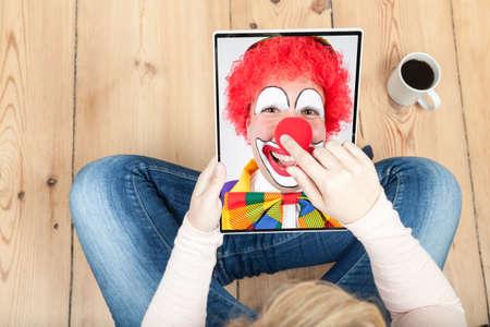 ballyhoo: clown on tablet for carnival